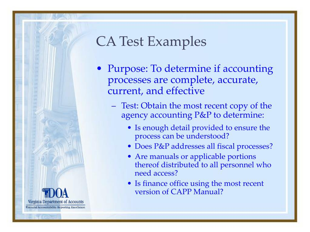 CA Test Examples