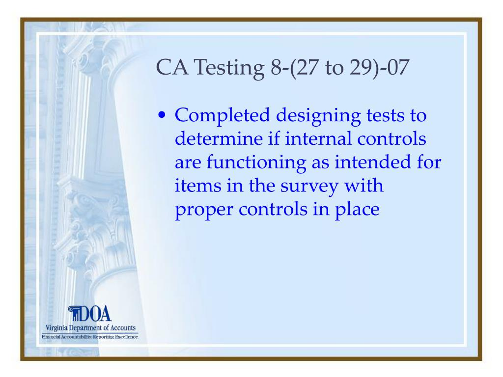 CA Testing 8-(27 to 29)-07