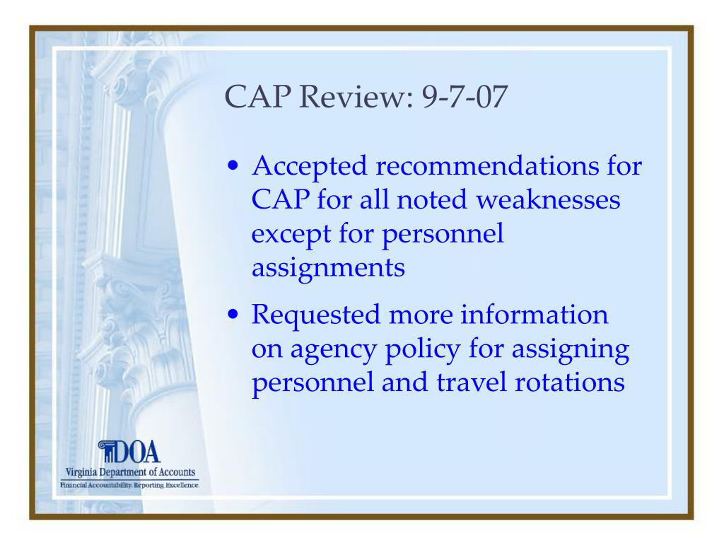 CAP Review: 9-7-07