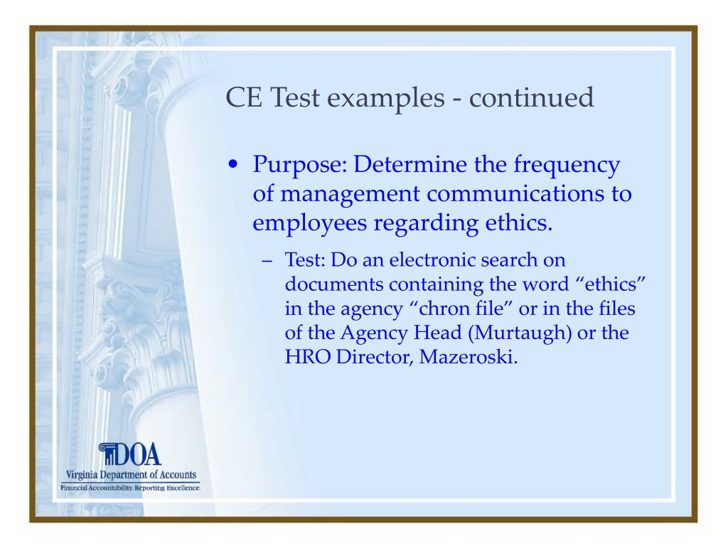 CE Test examples - continued