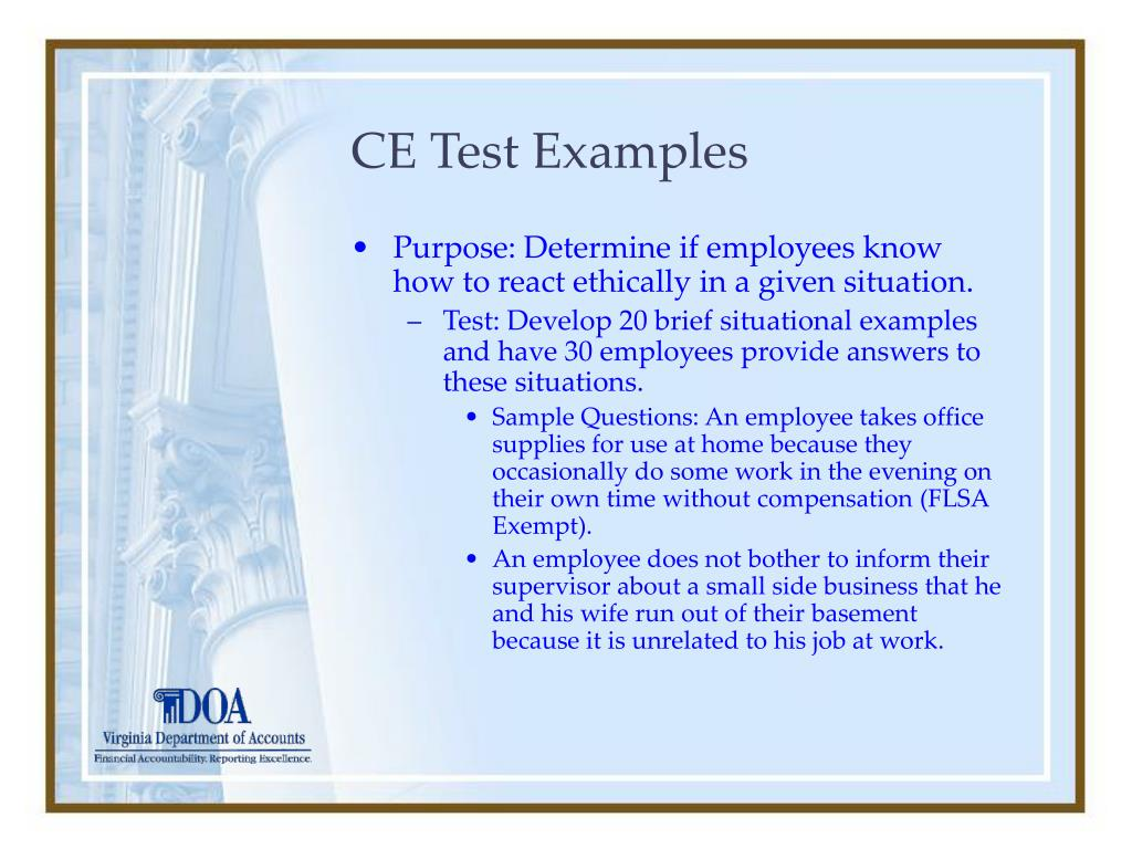 CE Test Examples