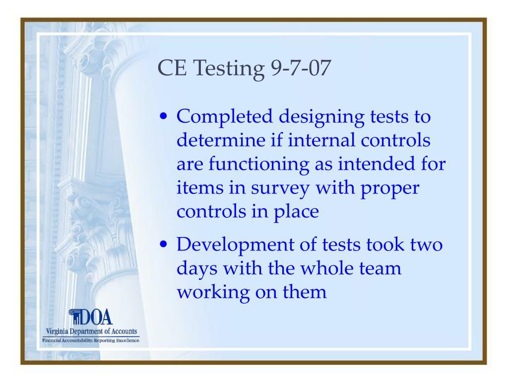 CE Testing 9-7-07