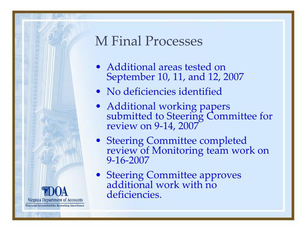 M Final Processes