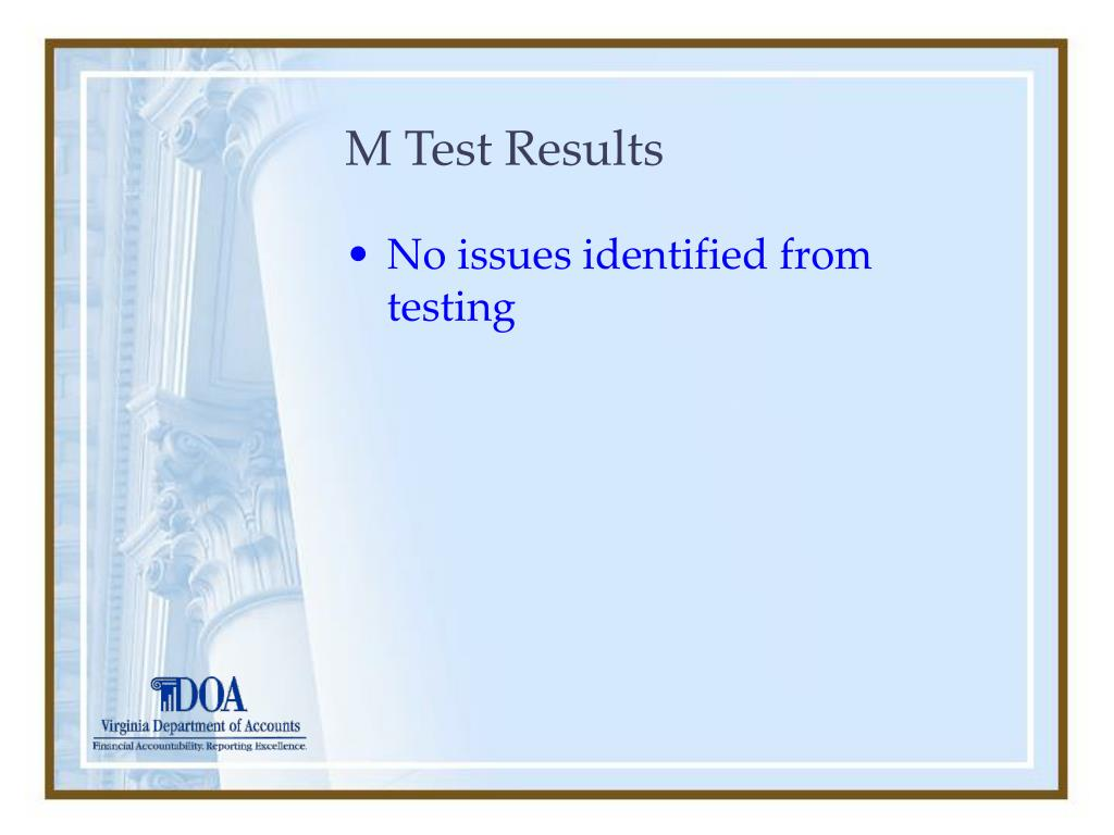 M Test Results