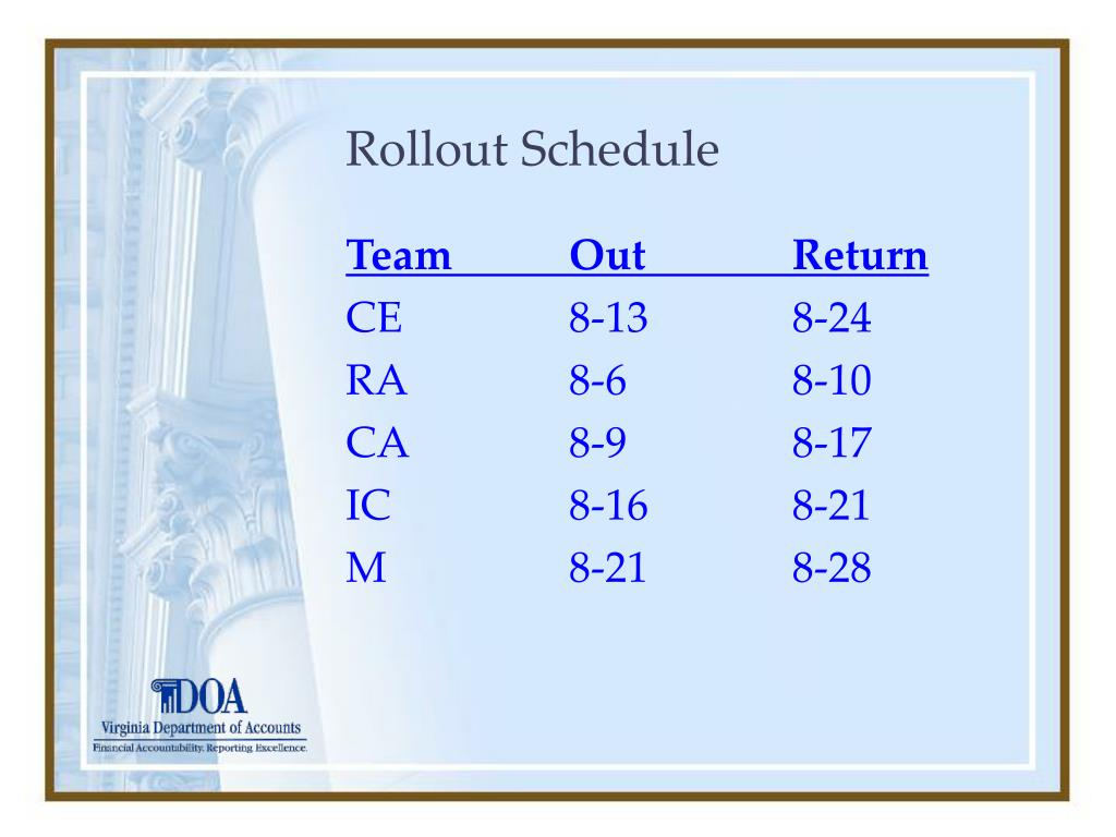 Rollout Schedule