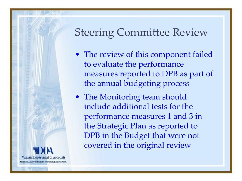 Steering Committee Review