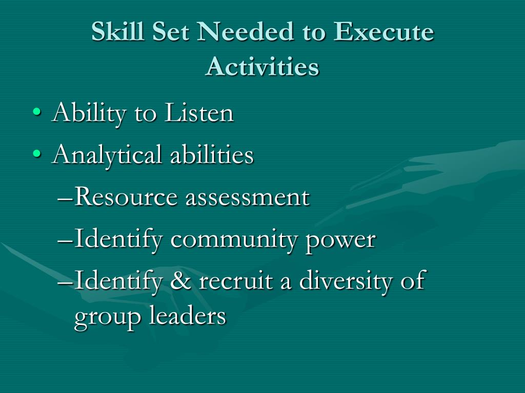 Skill Set Needed to Execute Activities