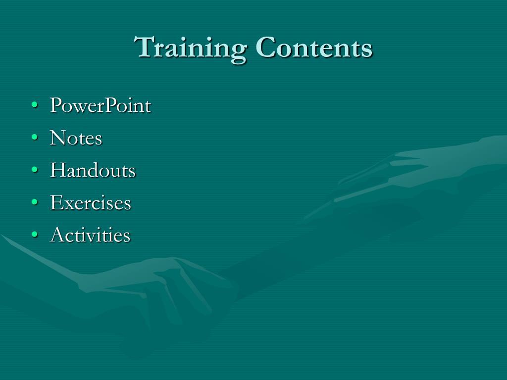 Training Contents