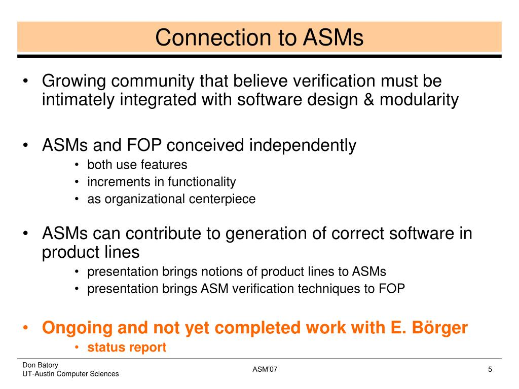 Connection to ASMs