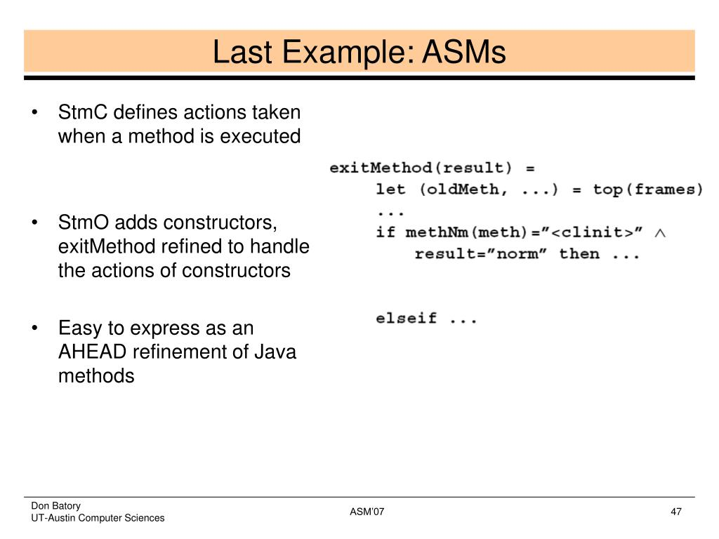 StmC defines actions taken when a method is executed