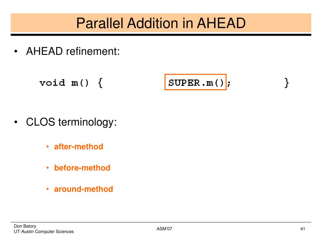 Parallel Addition in AHEAD