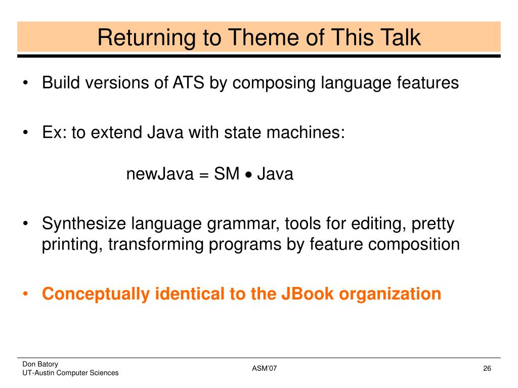 Returning to Theme of This Talk