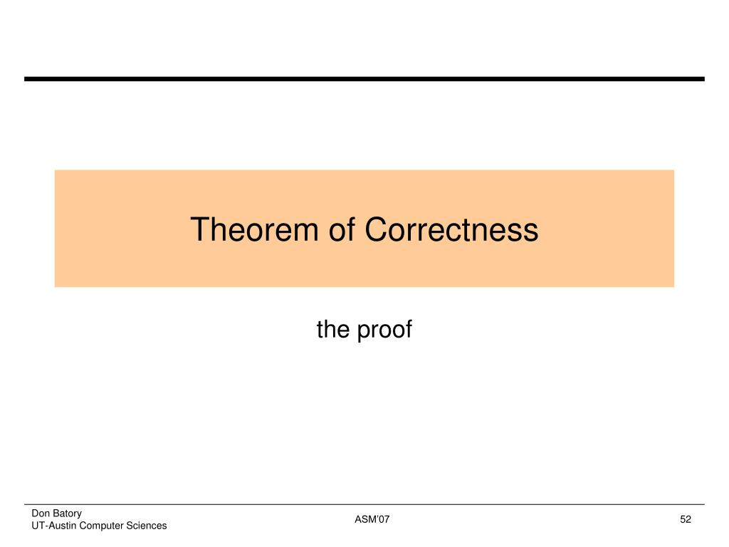 Theorem of Correctness