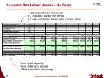 summary worksheet header by team