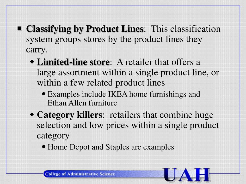 Classifying by Product Lines