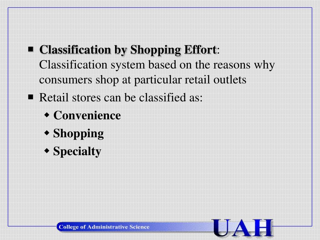 Classification by Shopping Effort