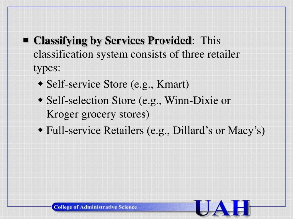 Classifying by Services Provided