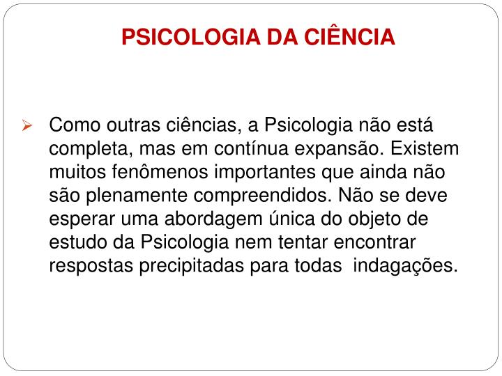 PSICOLOGIA DA CIÊNCIA