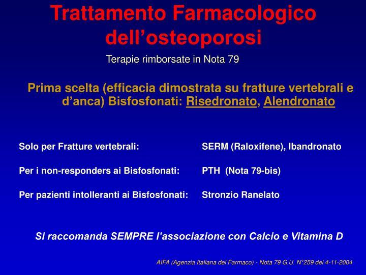 Trattamento Farmacologico dell'osteoporosi