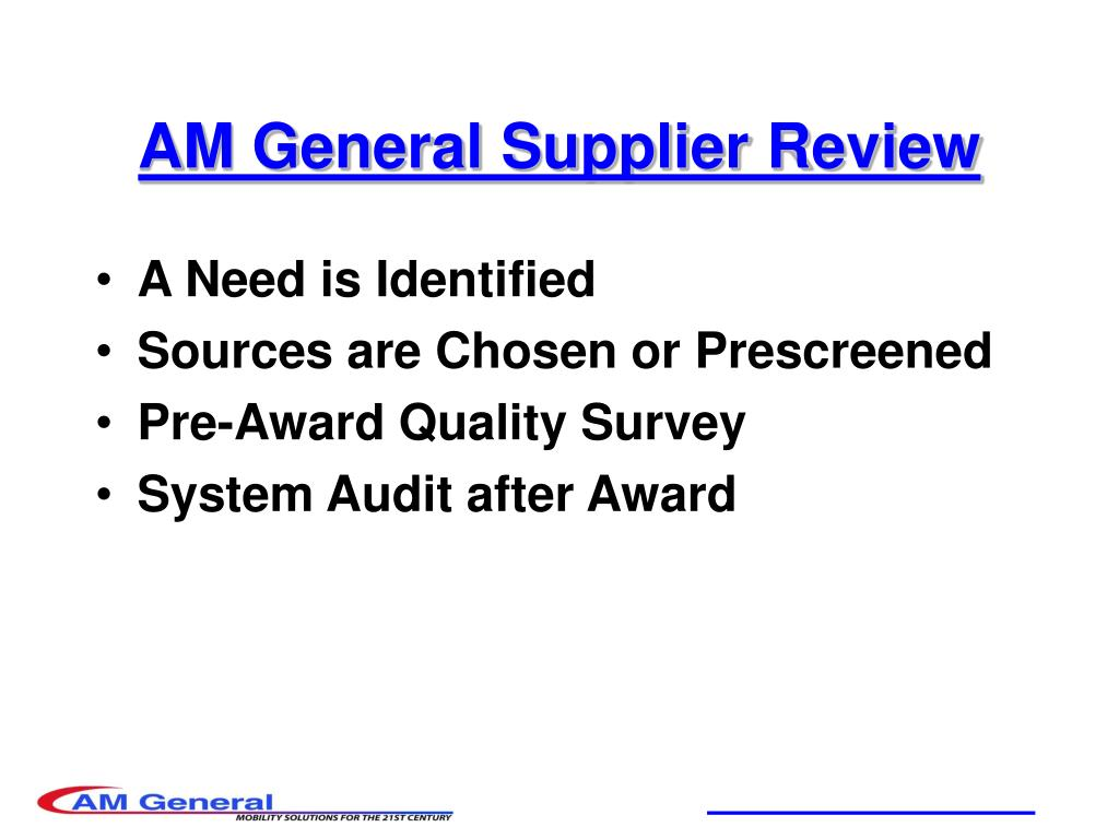 AM General Supplier Review