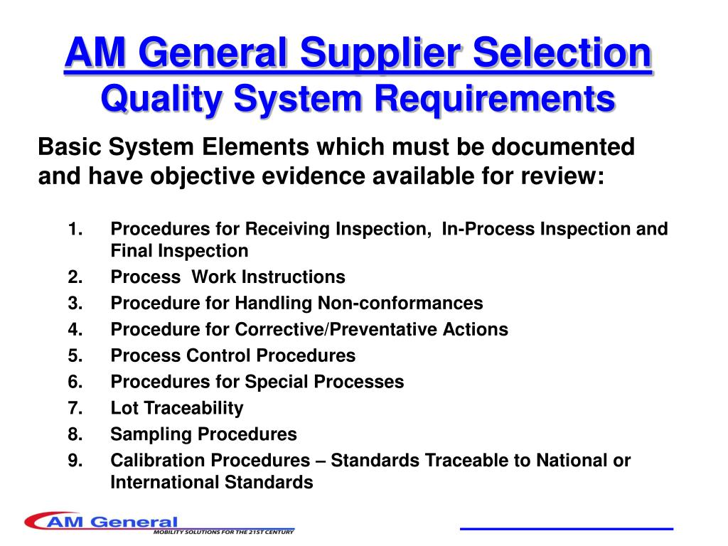 AM General Supplier Selection