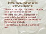 direct costs indirect costs and cost behavior