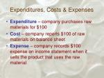 expenditures costs expenses