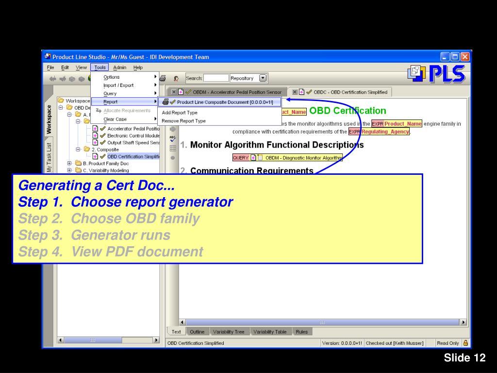 Generating a Cert Doc...