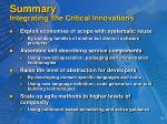 summary integrating the critical innovations