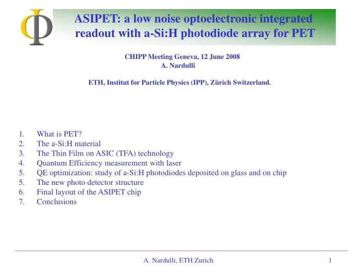 asipet a low noise optoelectronic integrated readout with a si h photodiode array for pet n.