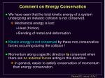 comment on energy conservation
