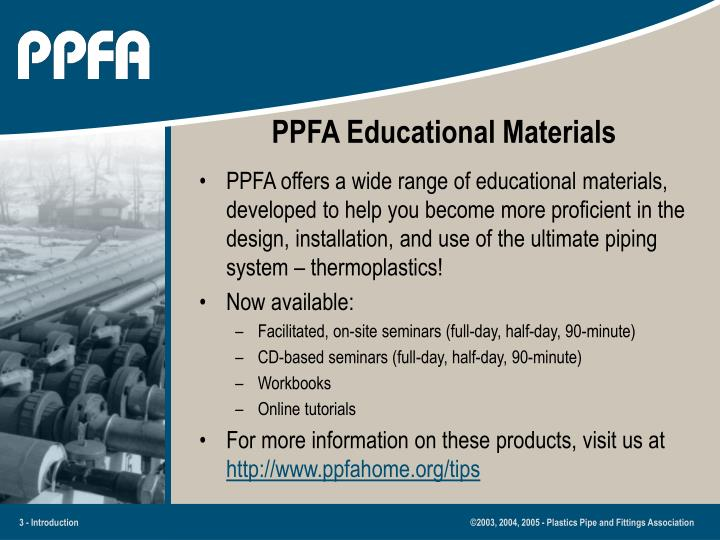 Ppfa educational materials