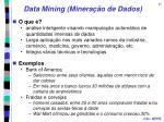 data mining minera o de dados