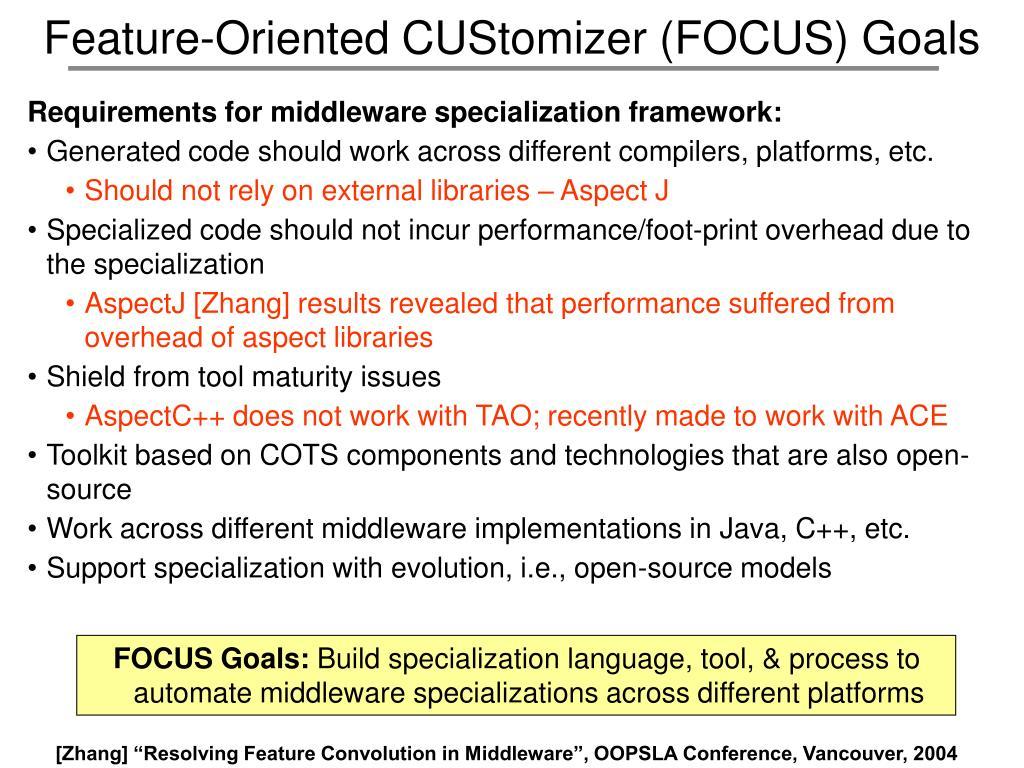 Feature-Oriented CUStomizer (FOCUS) Goals