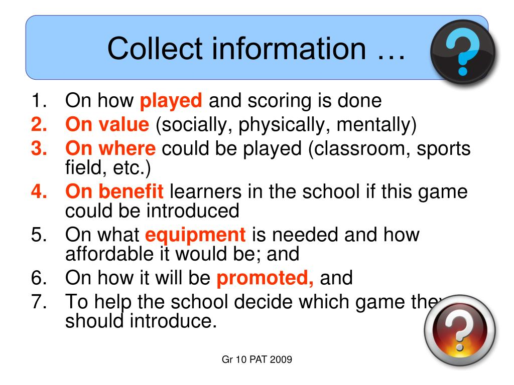 Collect information …