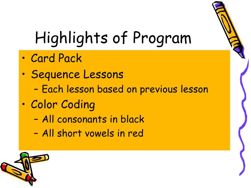 Highlights of Program