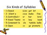 six kinds of syllables