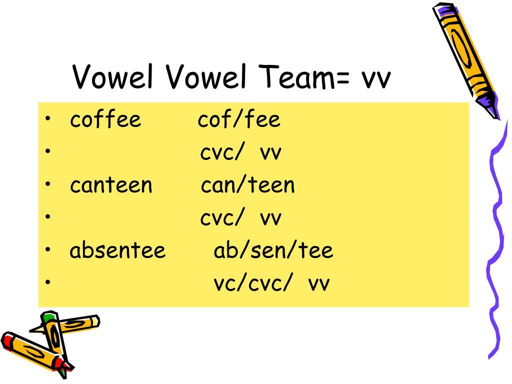 Vowel Vowel Team= vv