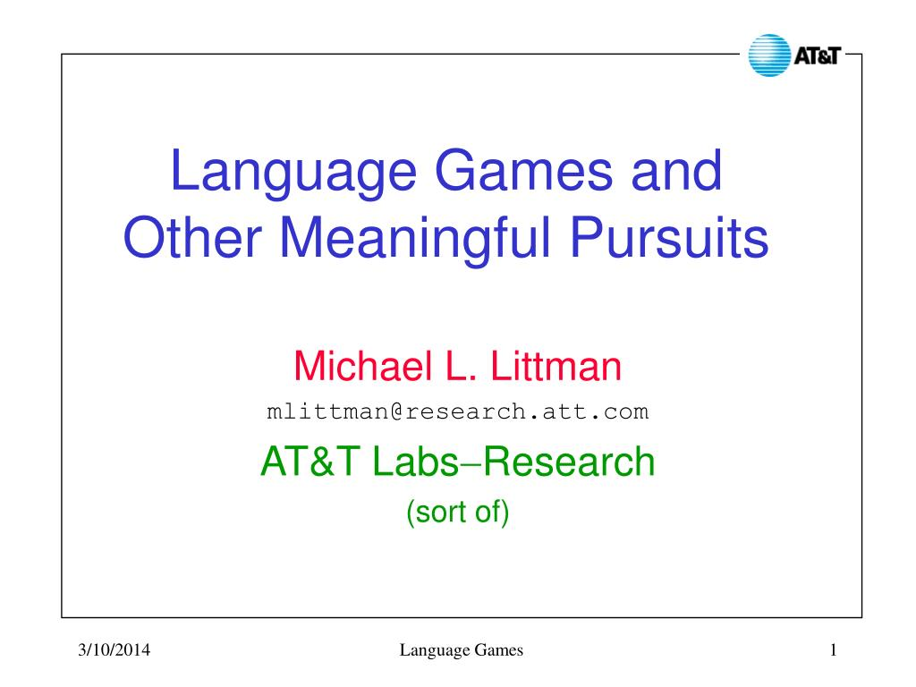 language games and other meaningful pursuits l.
