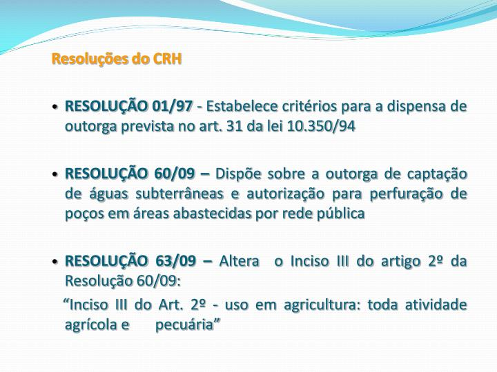 Resoluções do CRH