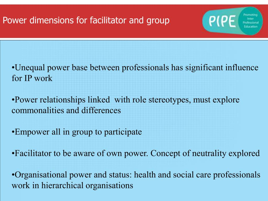 Power dimensions for facilitator and group