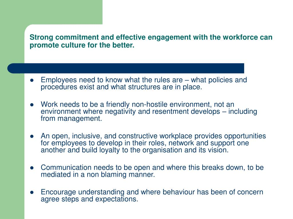 Strong commitment and effective engagement with the workforce can promote culture for the better.