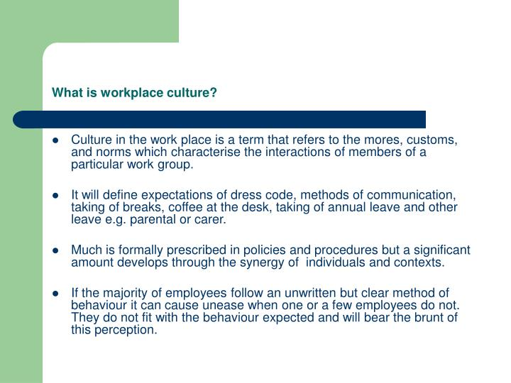 What is workplace culture