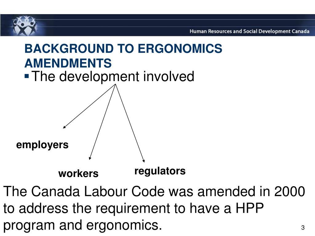 BACKGROUND TO ERGONOMICS AMENDMENTS