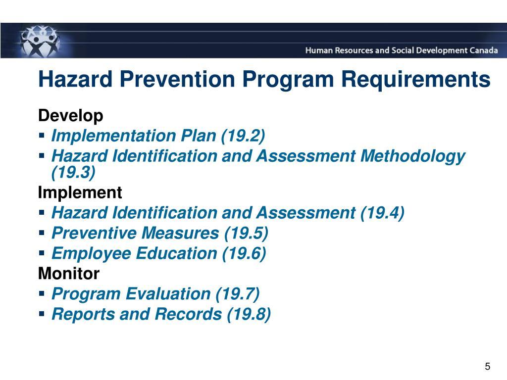 Hazard Prevention Program Requirements
