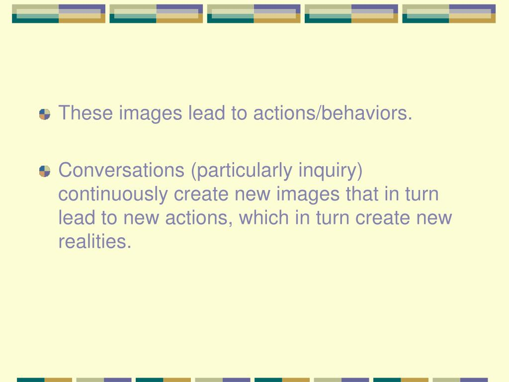 These images lead to actions/behaviors.