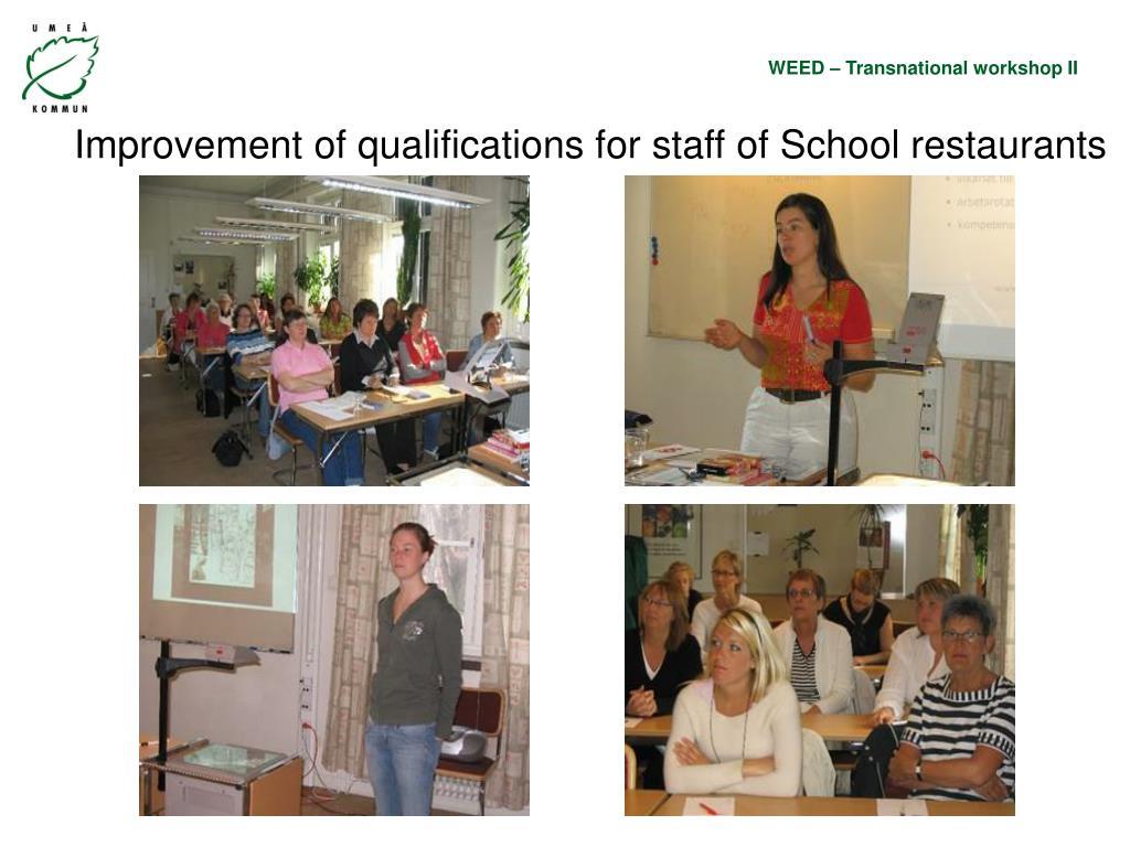 Improvement of qualifications for staff of School restaurants