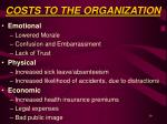 costs to the organization