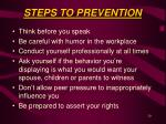 steps to prevention
