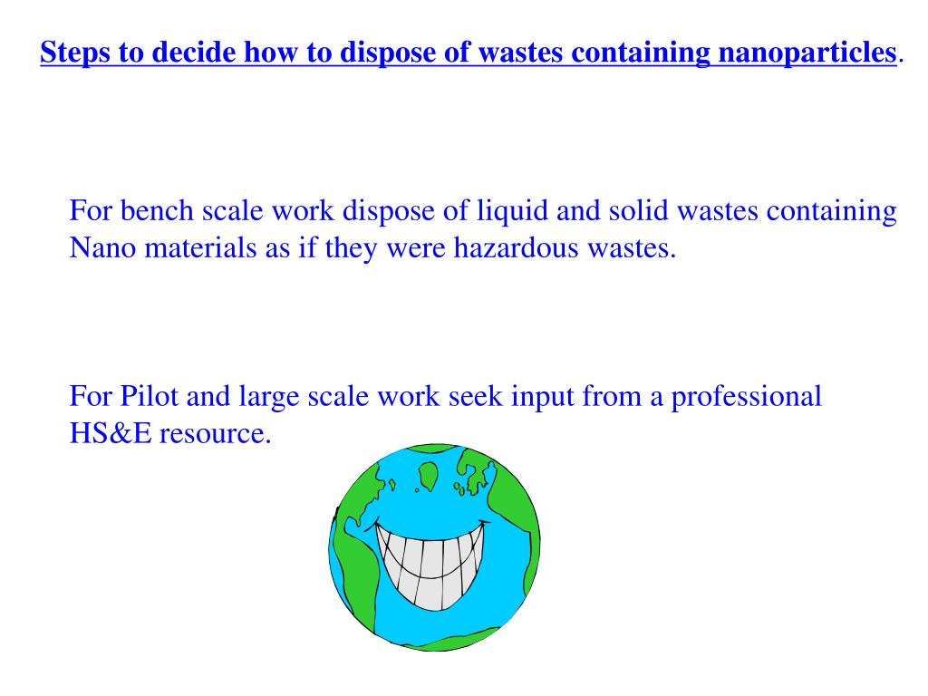 Steps to decide how to dispose of wastes containing nanoparticles